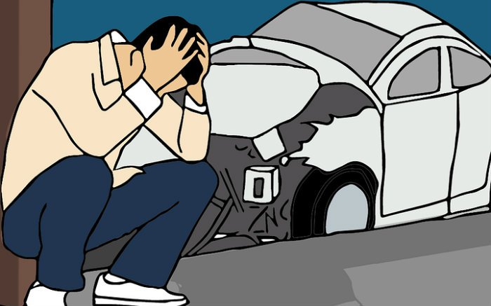 Desenho de acidente de carro para ilustrar texto sobre valor do DPVAT 2019