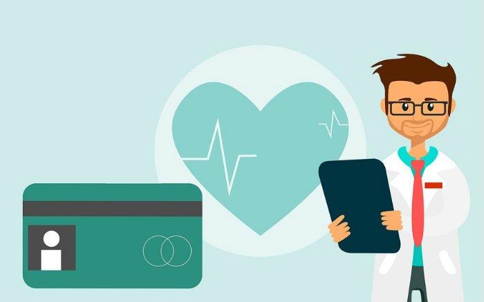Desenho de médico e coração para ilustrar texto sobre plano de saúde empresarial no RJ
