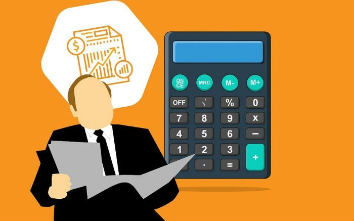 Ilustração de executivo e calculadora para texto sobre seguro garantia de execução fiscal