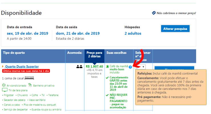 Print screen mostrando as condições de cancelamento Booking
