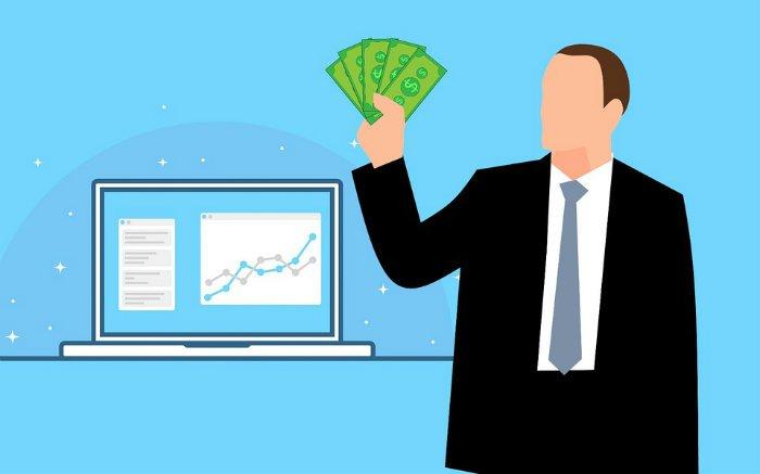 Ilustração de executivo segurando dinheiro para texto sobre empréstimo empresarial com juros baixos