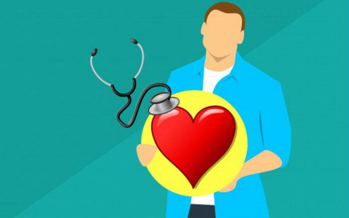 Ilustração de médico e coração para texto sobre plano de saúde com diárias hospitalares