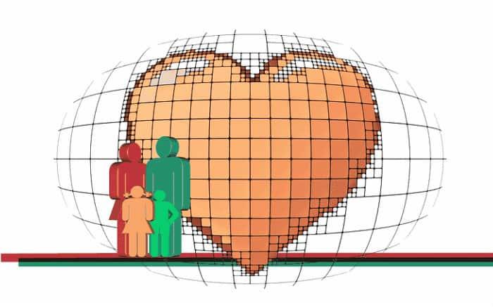 desenho de coração e família para ilustrar texto sobre seguro de vida com doenças pré existentes