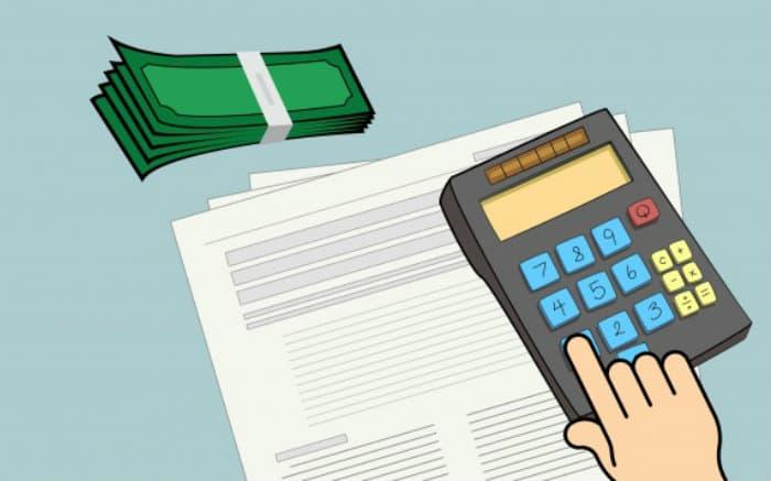 Desenho de calculadora e dinheiro para texto sobre como sobrar dinheiro no final do mês