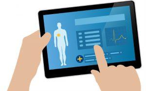 desenho de tablet com imagens de saúde para texto sobre simulador de plano de saúde