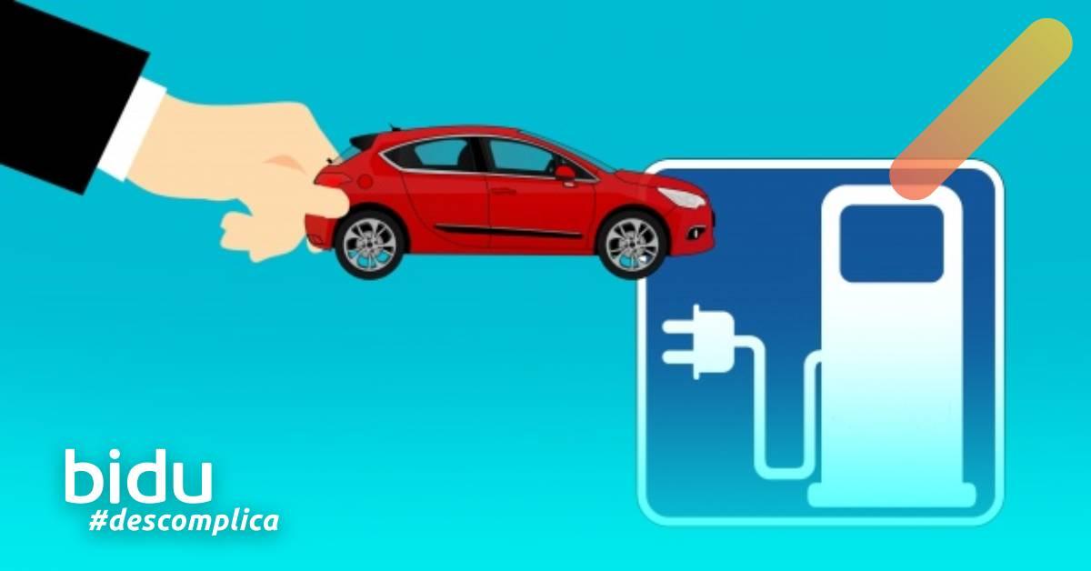 Desenho de carro elétrico para texto sobre carros elétricos no Brasil